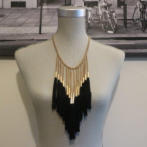SALE! 🔥 Golden Black Fringe Statement Necklace
